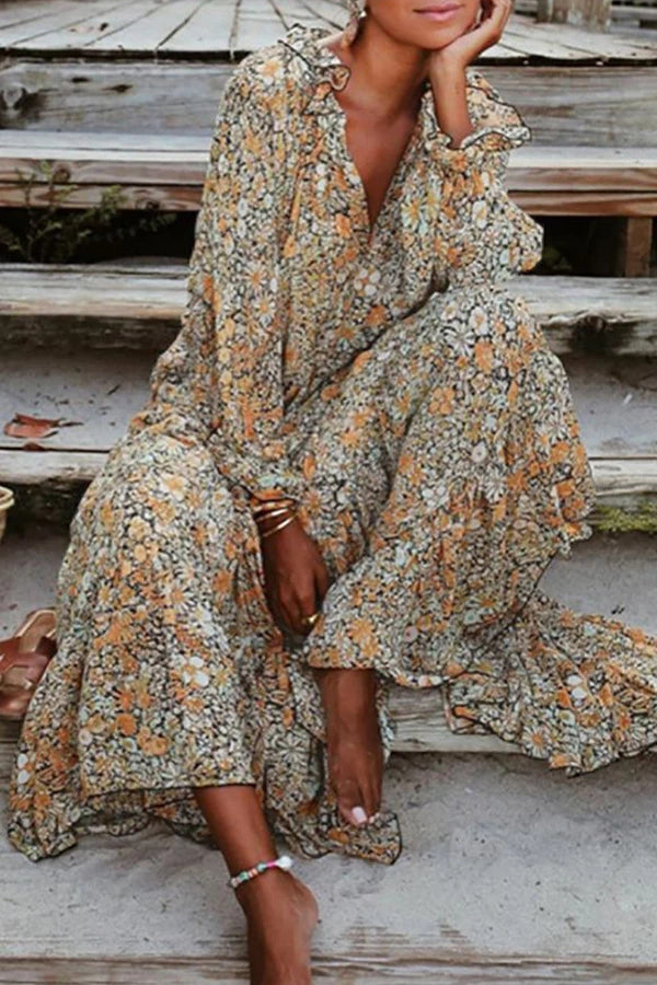 Casual V Neck Floral Maxi Dress