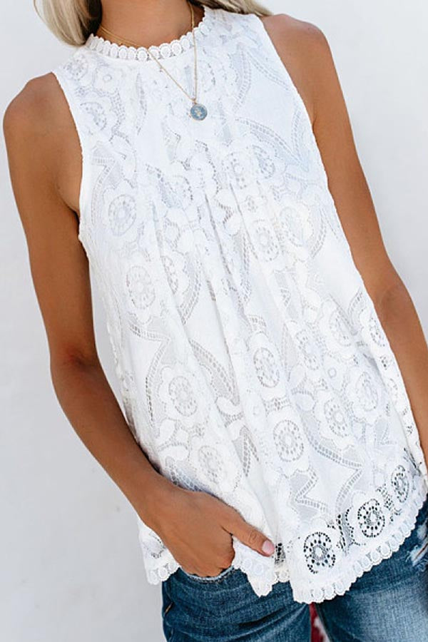 Floral Lace Cutout Crew Neck Sleeveless Tank Tops