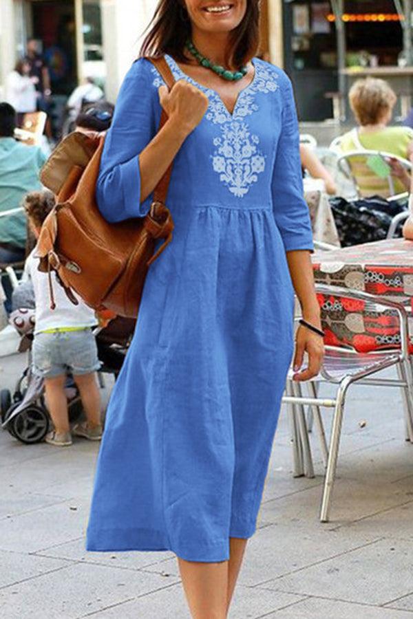 3/4 Length Sleeve Shift Linen Midi Dress