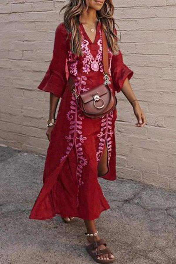 V-Neck Slit Floral Print Bell Sleeves Maxi Dress