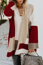 Casual Long Sleeves Loose Color Block Cardigans