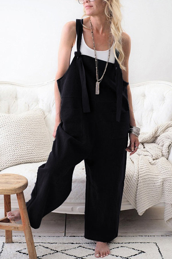Fashion Pocket Front Square Neck Jumpsuit