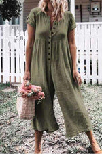 Button Short Sleeve Solid Wide Leg Linen Jumpsuit