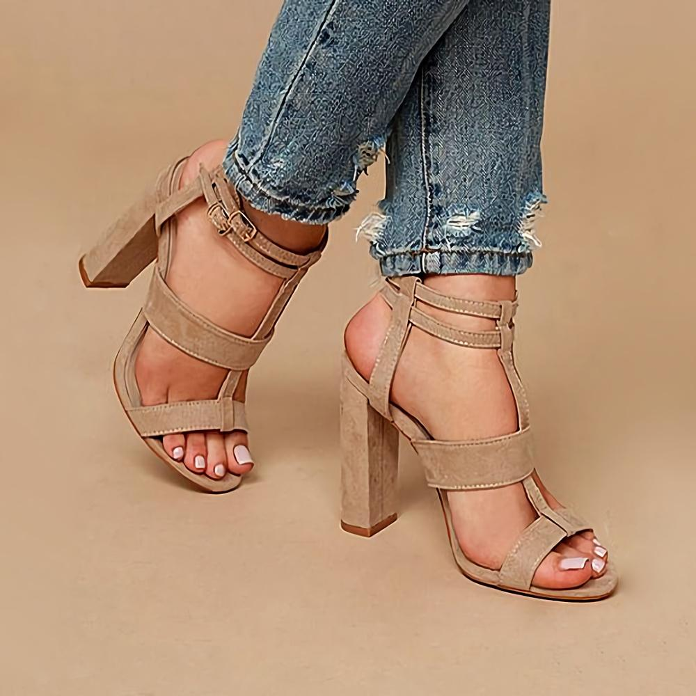 Buckle Sandals Rome High Thick Heels