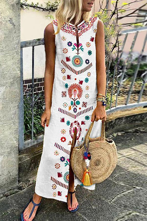 Holiday Floral Print Sleeveless Slit Maxi Dress
