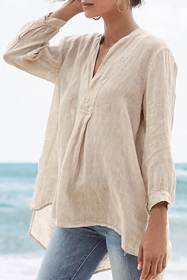 Solid Long Sleeves High-low Hem Blouses