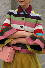 Colorful Stripe Button Fly Flare Sleeve Coat