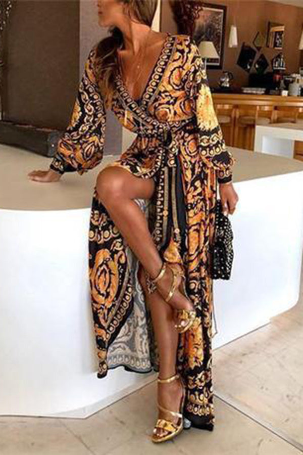 Vintage Printed Long Sleeves Slit Party Maxi Dress