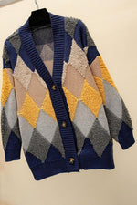 Geometric Print Paneled V-neck Knitted Cardigans
