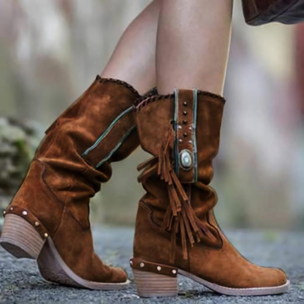 Solid Buckle Tassel Middle Height Boots