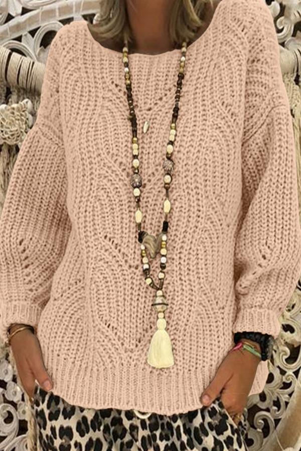 Round Neck Cable Knitted Sweaters