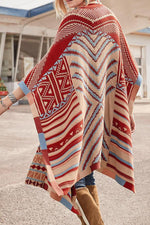 Graphic Print Batwing Casual Cape Cardigans