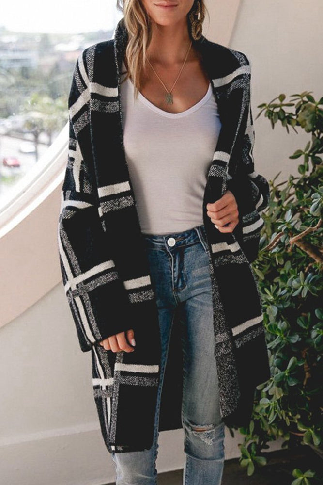Side Pockets Stripe Color-block Loose Cardigans