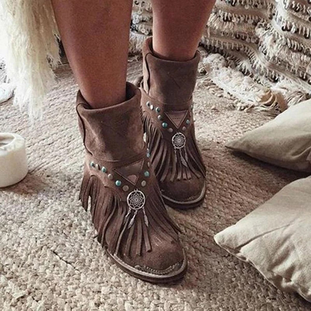 Vintage Fringed  Rivets Pointed Toe Boots
