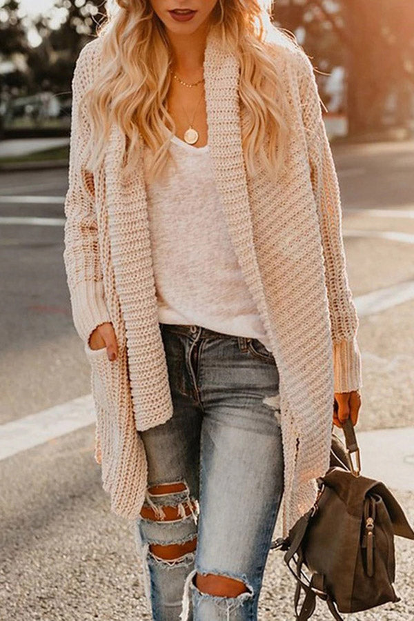 Loose Long Sleeves Pockets Solid Cardigans
