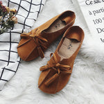 Solid Bowknot Round Toe Casual Flats