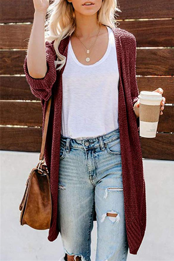 Solid Slit Open Front Knitted Cardigans