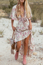 Boho Floral Backless Deep V Neck Holiday Dress