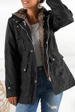 Solid Zipper Casual Fluffy Hooded Coat