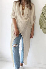 Cowl Neck Long Sleeves Slit Pockets Blouses