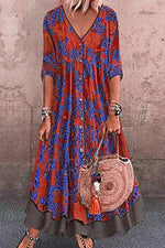 Boho Floral Print Buttoned Paneled Maxi Dress