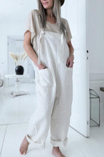 Paneled Striped Side Pockets Casual Jumpsuits