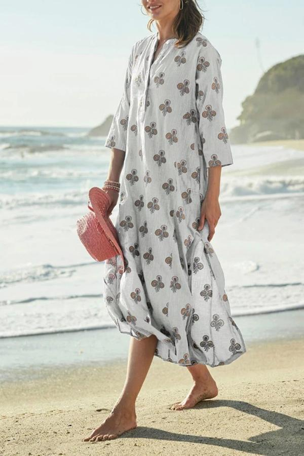 Holiday Floral Print Beach Maxi Dress