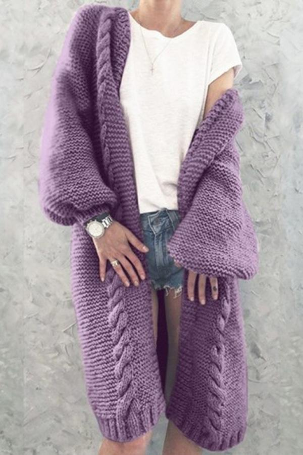 Solid Balloon Sleeves Casual Cardigans