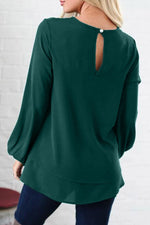 Solid Long Sleeves Backless Paneled T-shirts