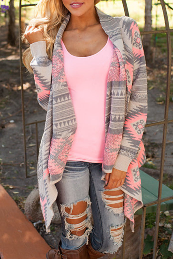 Geometric Printed  Long Sleeve Knitted Cardigans