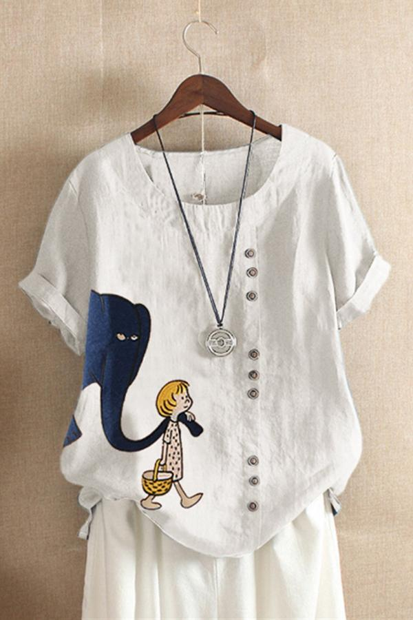 Cartoon Printed Short Sleeves T-shirts