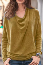 Loose Long Sleeves Casual Solid Cowl Neck T-shirts
