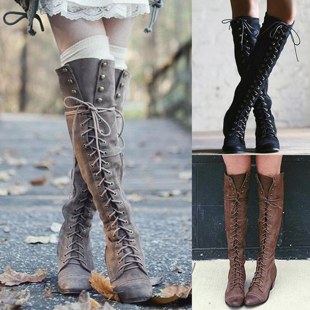 Lace-up Pointed Toe High Boots