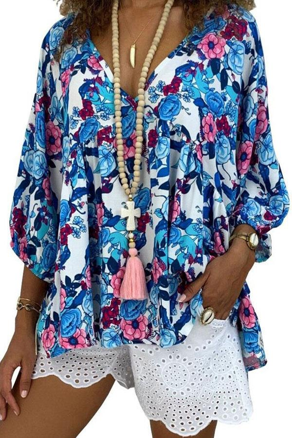 Casual V Neck Print Floral Loose T-shirts