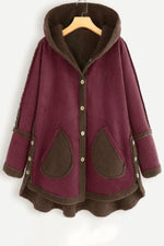 Color-block Buttoned High Low Hooded Coat