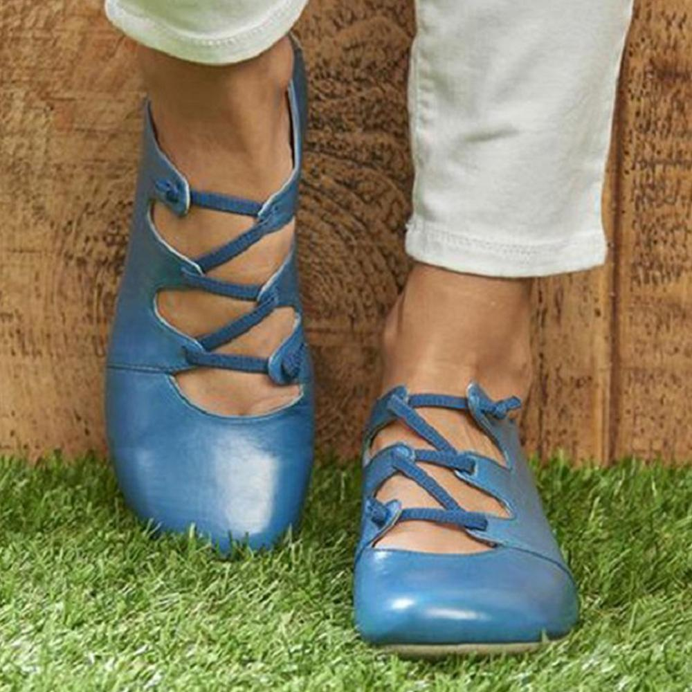 Round Toe Solid Hollow Out Casual Flats