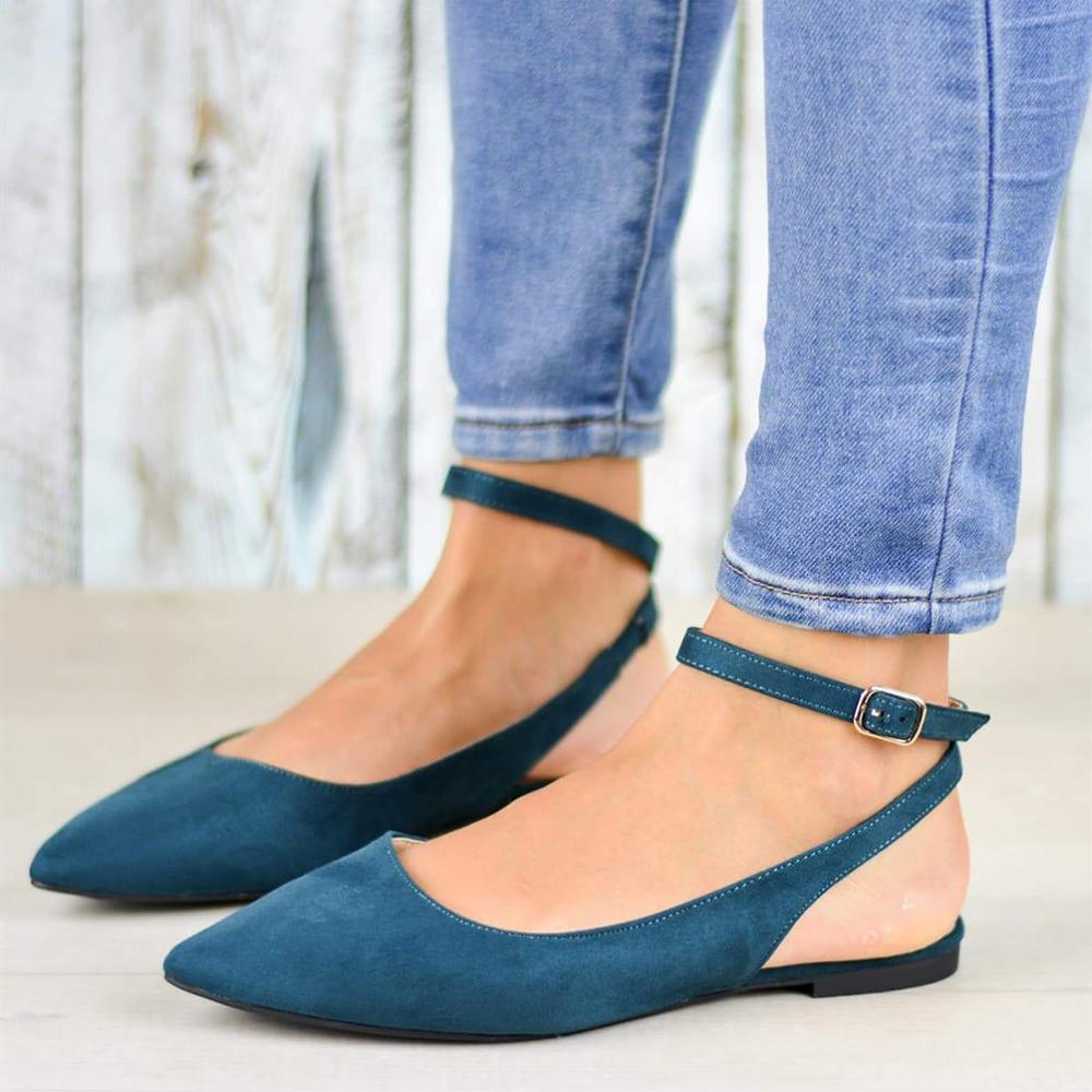 Pointed Toe Hollow Out Belt Buckle Solid Sandals