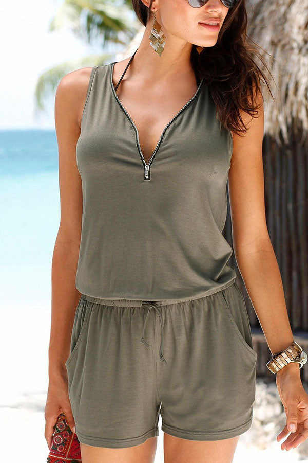 Solid Zipper V-neck Sleeveless Self-tie Casual Romper