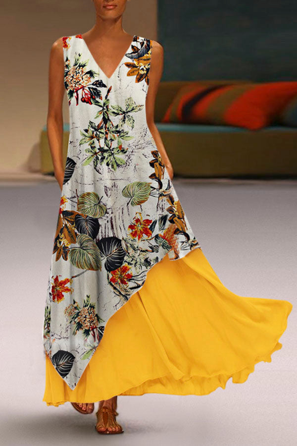 Floral Print Side Pockets Zip Back Contrast Maxi Dress