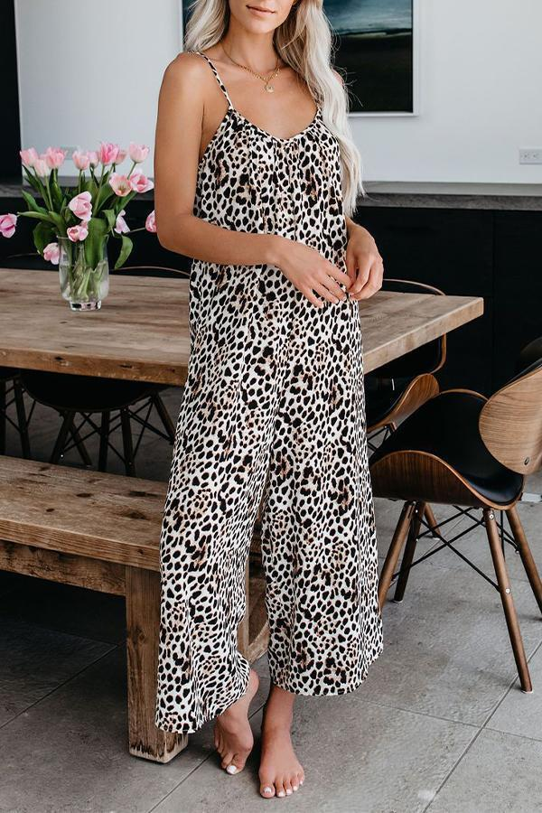 Leopard Print Sling Backless Holiday Wide Leg Jumpsuit