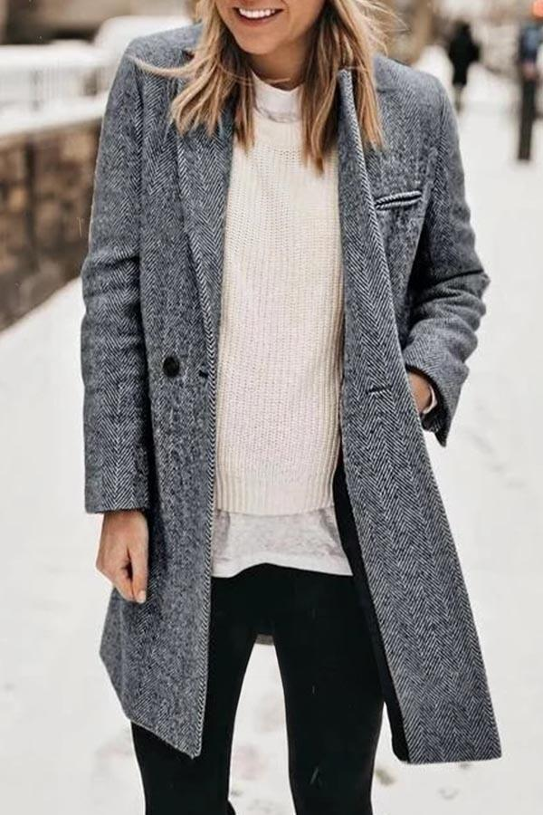 Paneled Solid Buttoned Lapel Collar Pockers Coat