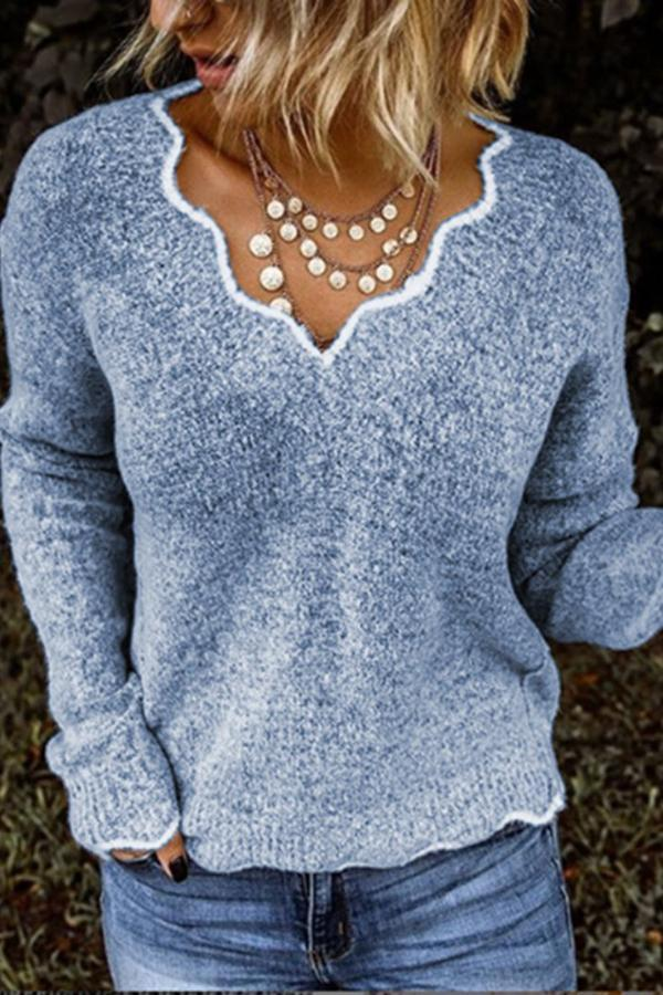 V Neck Knitted Long Sleeves Pullover Sweaters