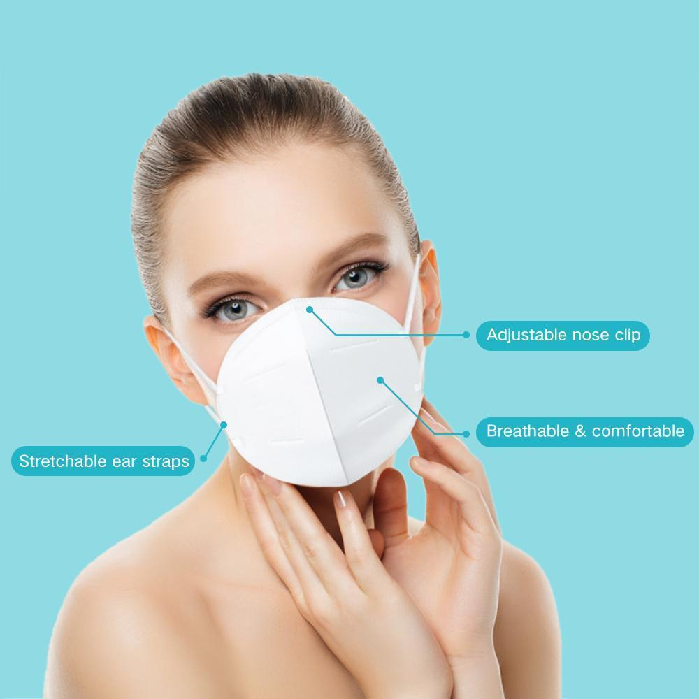 10Pcs KN95 Face Mask Dustproof Non-woven Air Filter Breathing Protective Mask