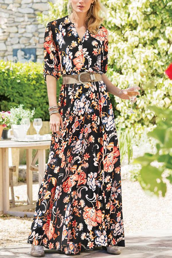 Boho Floral Print Buttoned Holiday Maxi Dress