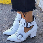 Rivet Solid Pointed Toe Belt Buckle Zipper Boots
