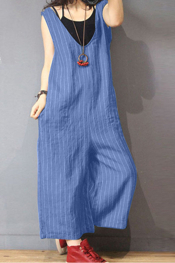 Stripe Print Side Pockets Loose Jumpsuits