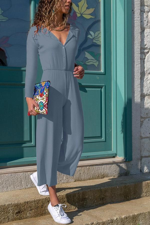 Paneled Solid Ribbed V-neck Casual Jumpsuits