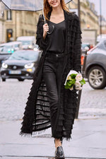 Solid Tassel Lace Coat
