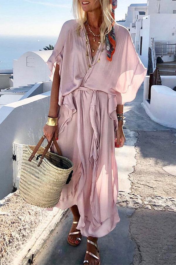Ruffled V-neck Batwing Self-tie Maxi Dress