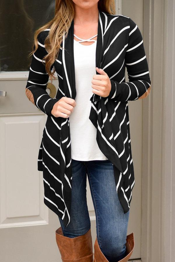 Paneled Striped Lapel Casual Cardigans